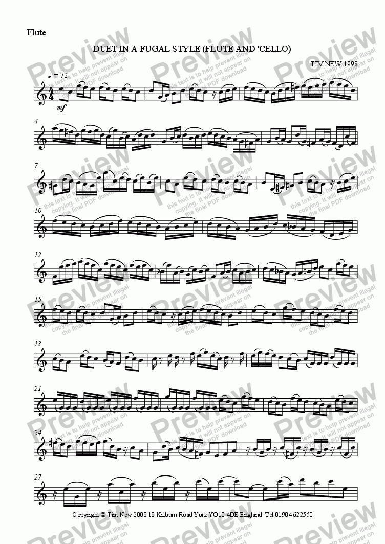 page one of the flute part from DUET IN A FUGAL STYLE (FLUTE AND 'CELLO)