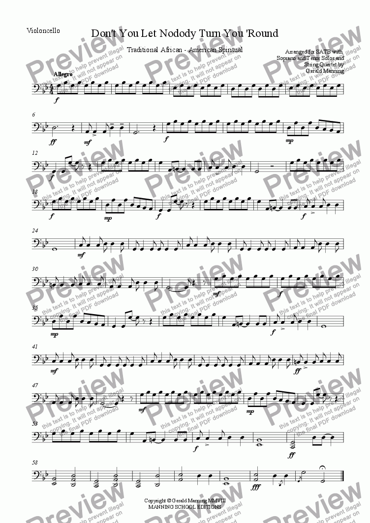 page one of the Violoncello part from African - American Spirituals - Don't You Let Nobody Turn You 'Round - arranged for SATB, with Solo Voices and String Quartet by Gerald Manning