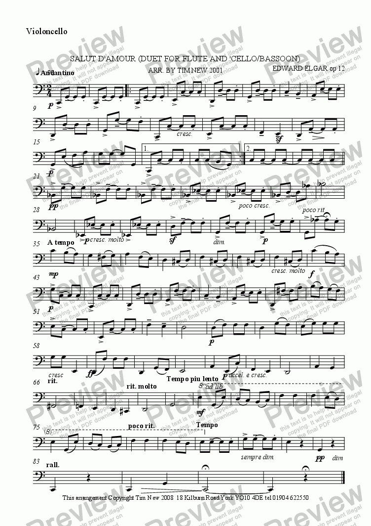 page one of the cello part from SALUT D'AMOUR (DUET FOR FLUTE AND 'CELLO/BASSOON)