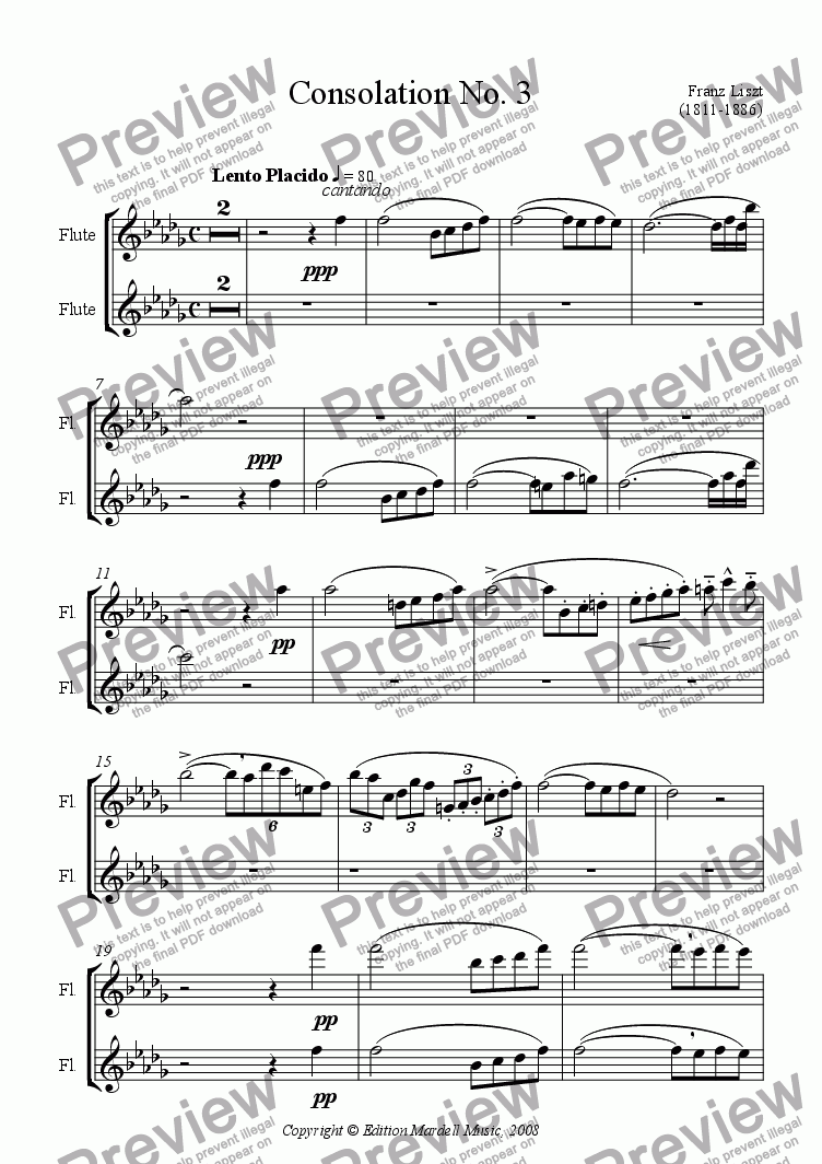 page one of the flutes part from Consolation No. 3 (Guitar & solo)