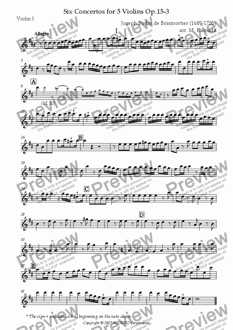 page one of the Violin I part from Six Concertos No.3 for five Violins Op.15-3
