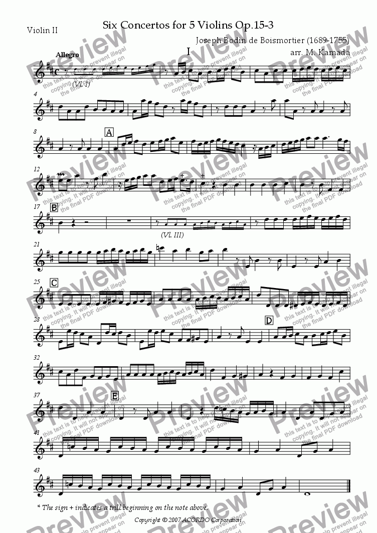 page one of the Violin II part from Six Concertos No.3 for five Violins Op.15-3