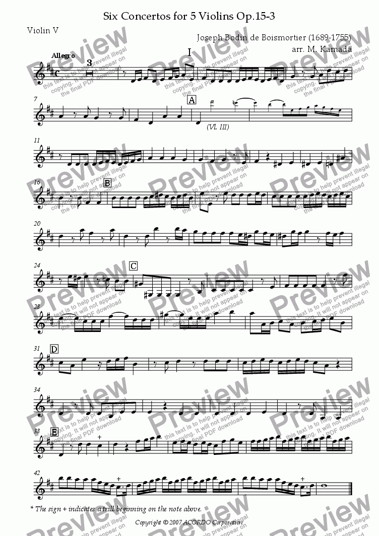 page one of the Violin V part from Six Concertos No.3 for five Violins Op.15-3