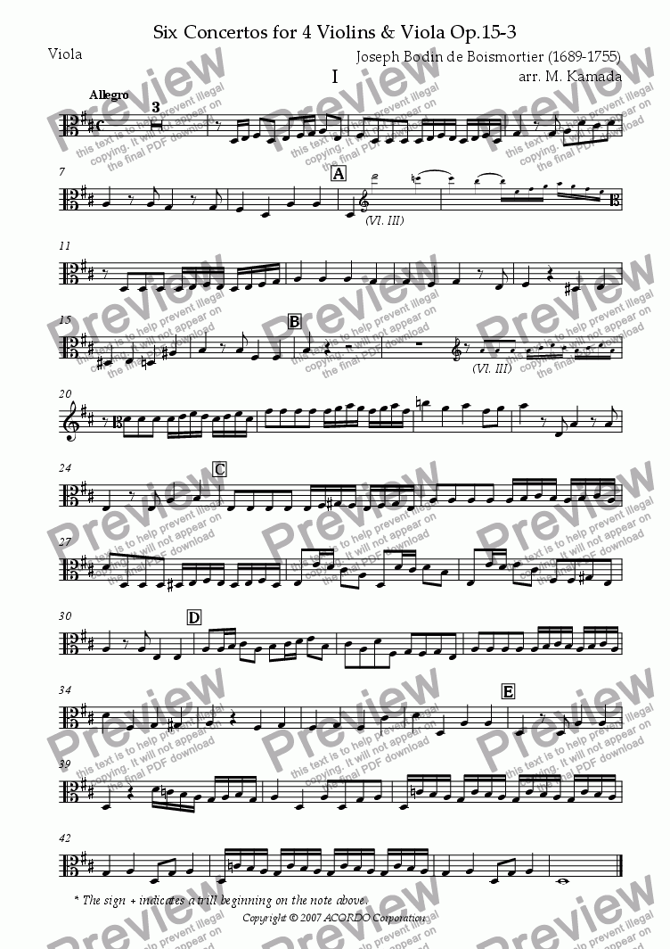 page one of the Viola part from Six Concertos No.3 for four Violins & Viola Op.15-3