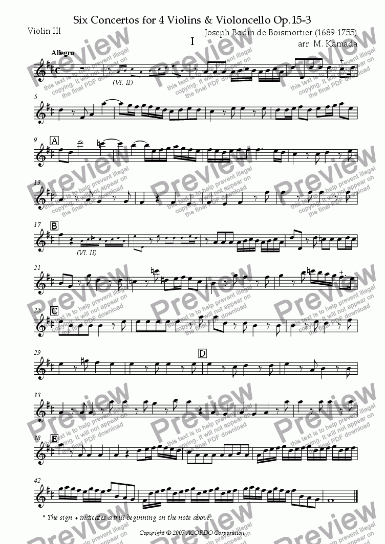 page one of the Violin III part from Six Concertos No.3 for four Violins & Violoncello Op.15-3
