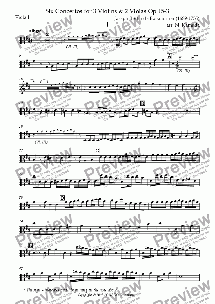 page one of the Viola I part from Six Concertos No.3 for three Violins & two Violas Op.15-3