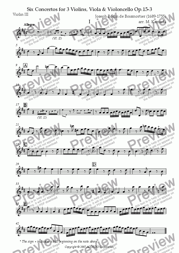 page one of the Violin III part from Six Concertos No.3 for three Violins, Viola & Violoncello Op.15-3