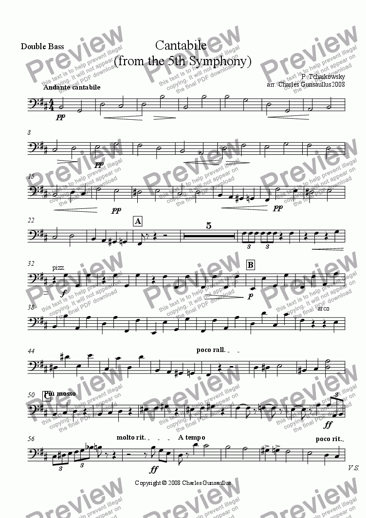 page one of the Bass part from 'Cantabile' from the 5th Symphony