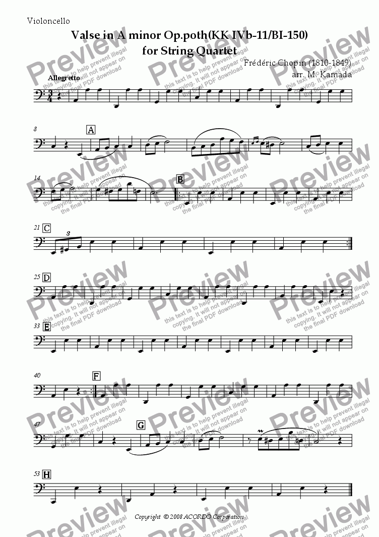 page one of the Violoncello part from Valse in A minor Op.poth (KK IVb-11/BI-150) for String Quartet