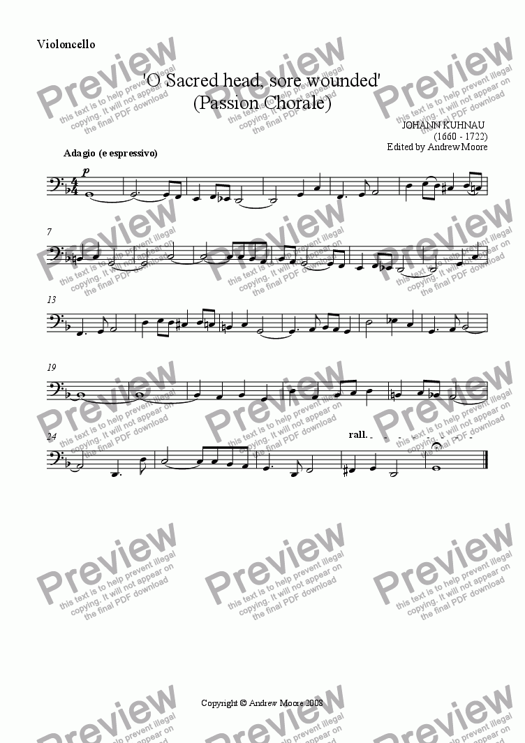 page one of the cello part from Passion Chorale - 'O Sacred Head Sore Wounded' for String Quartet
