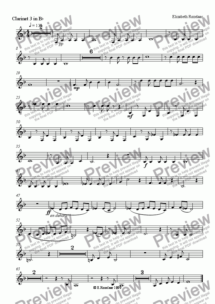 "page one of the Clarinet 3 part from ""A Tango for Liza"" for clarinet quartet"