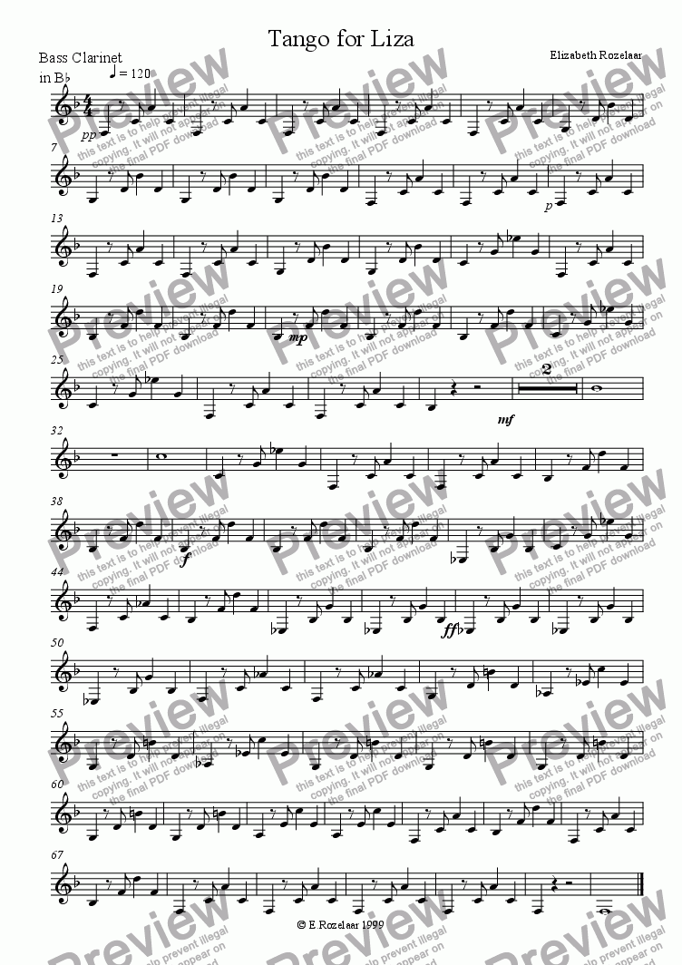 "page one of the Bass Clarinet part from ""A Tango for Liza"" for clarinet quartet"