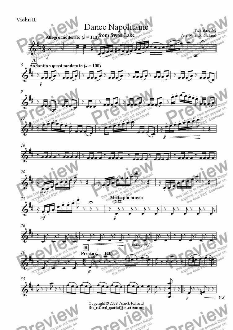 page one of the Violin 2 part from Danse Napolitaine from Swan Lake