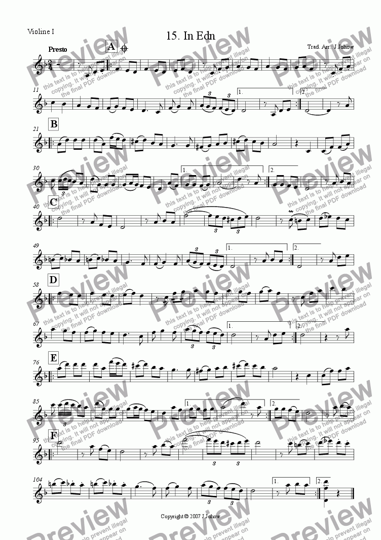 page one of the 1. Vl part from My Klezmer Book 15 (In Edn)