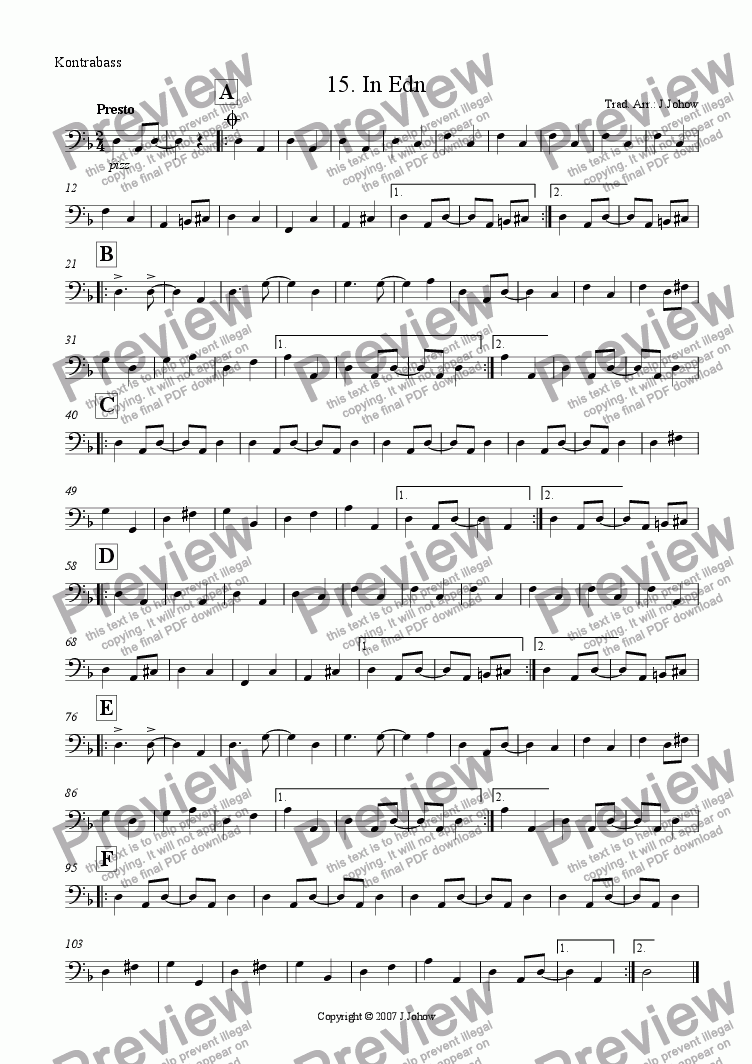 page one of the Bass part from My Klezmer Book 15 (In Edn)