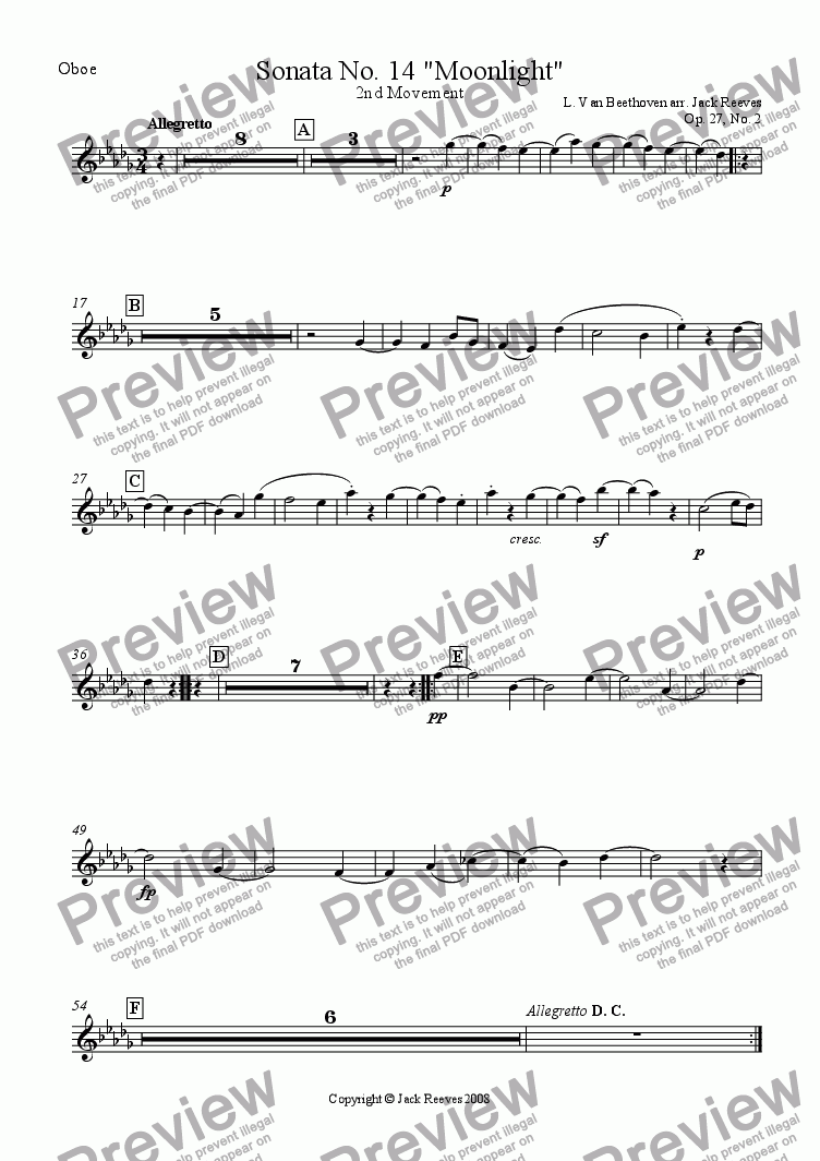 page one of the Oboe part from Moonlight Sonata - 2nd Movement (C# Major) - Orchestra