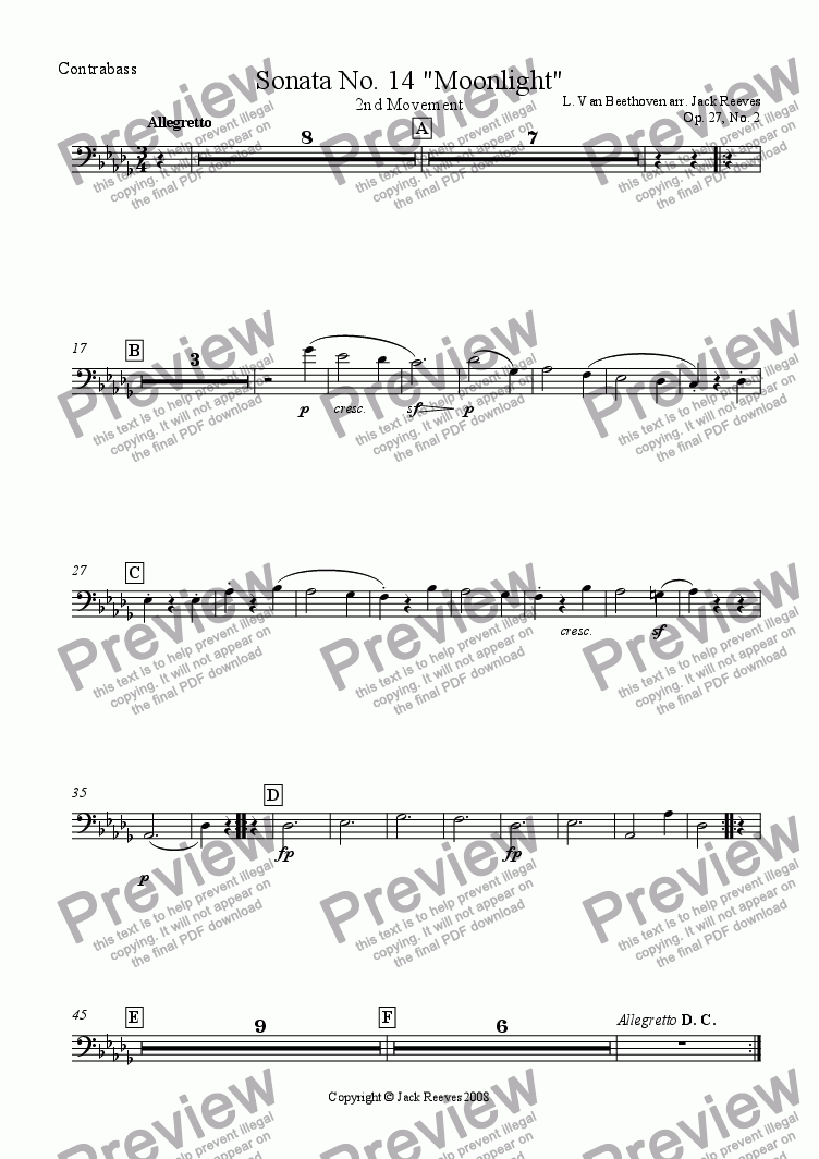 page one of the Double Bass part from Moonlight Sonata - 2nd Movement (C# Major) - Orchestra