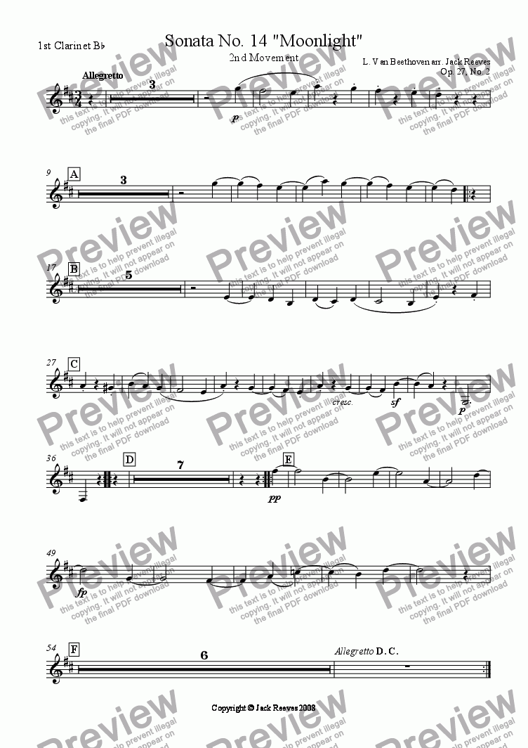 page one of the 1st Clarinet Bb part from Moonlight Sonata - 2nd Movement (C Major) - Orchestra