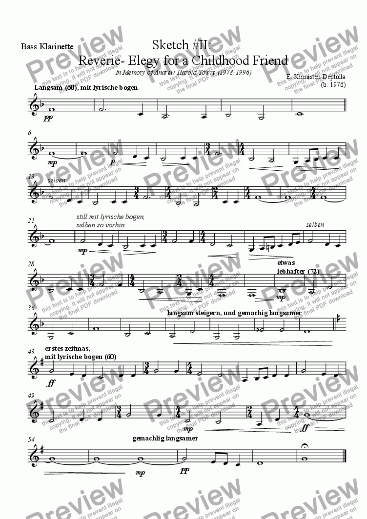 page one of the Bass Klarinette part from Sketches of Life: Sketch II-Reverie, An Elegy for a Childhood Friend