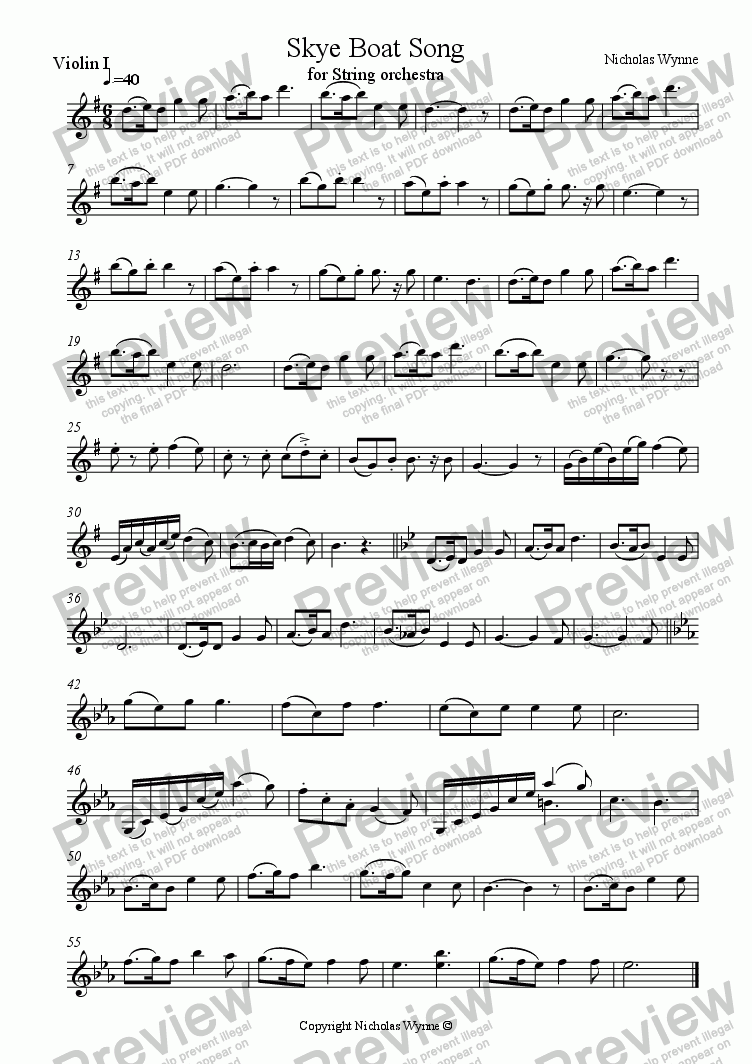 page one of the 1st Violin part from Skye Boat Song for String Orchestra