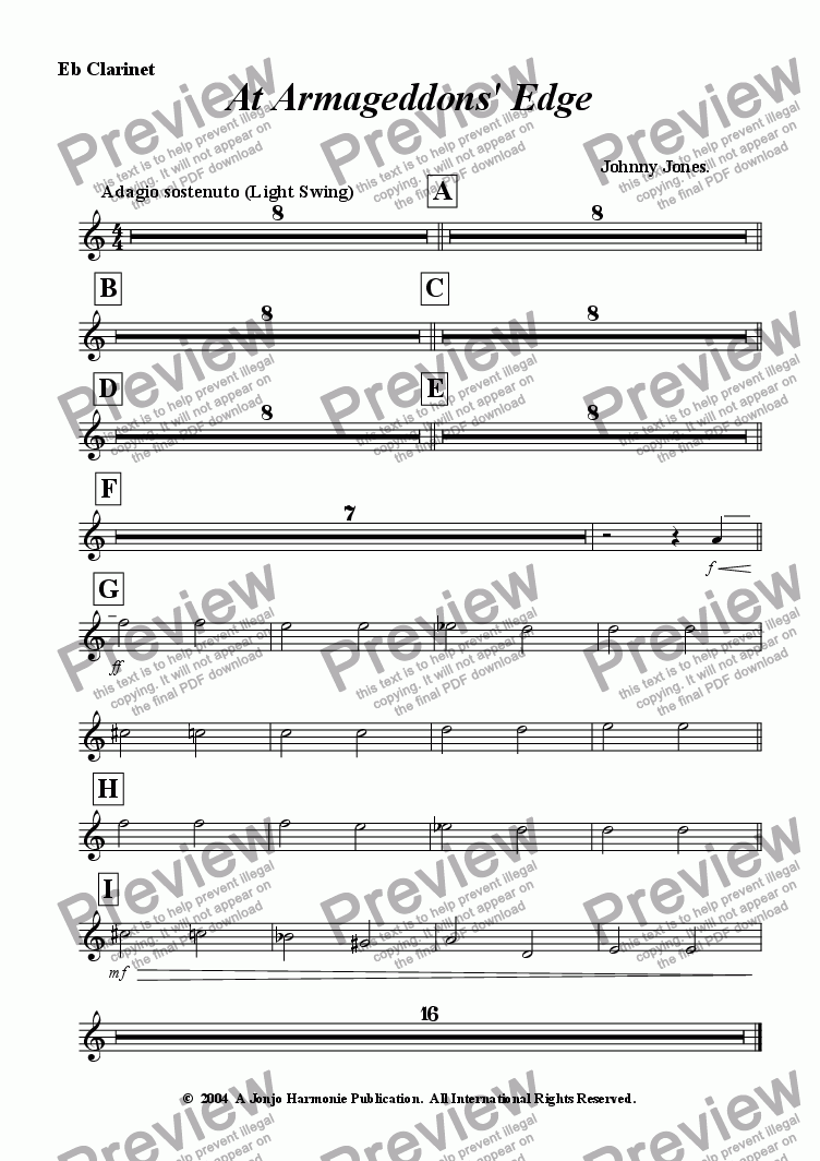 page one of the Eb Clarinet part from At Armageddons' Edge  (Concert Windband)