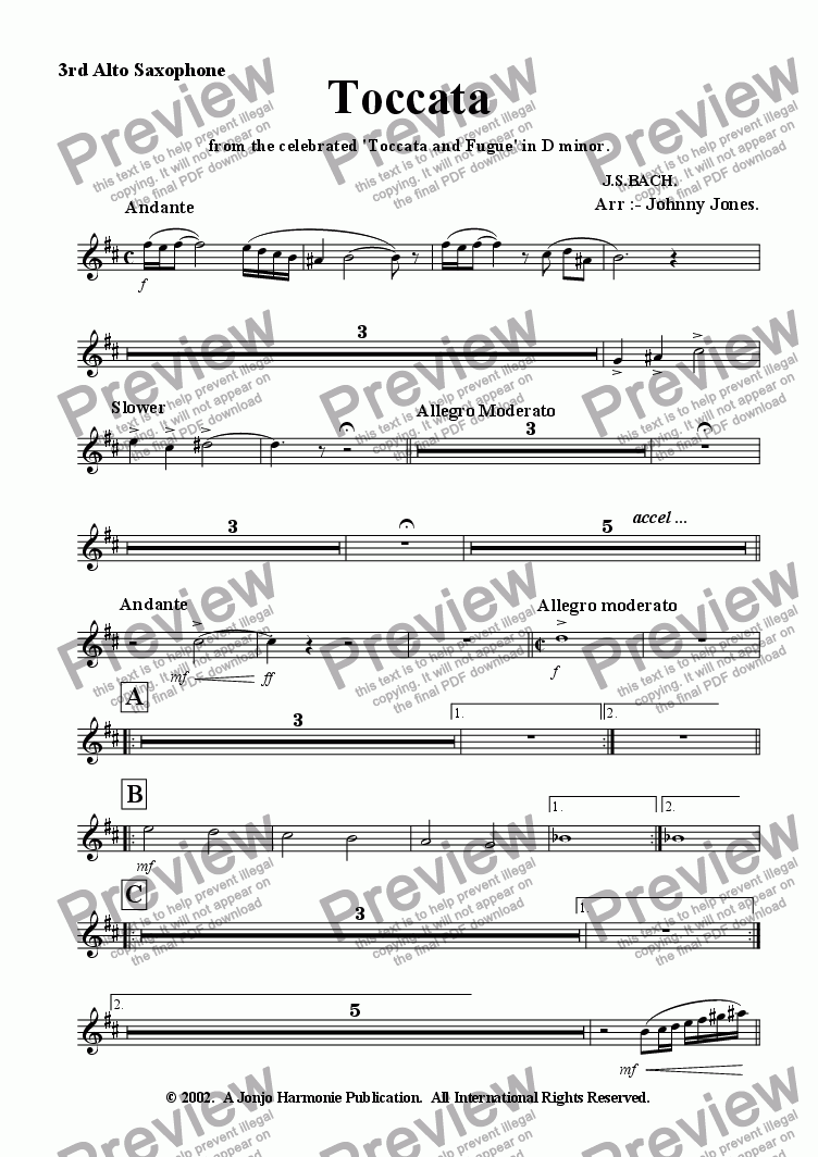 page one of the 3rd Alto Saxophone part from Toccata   ( arr :- 10 Saxs)