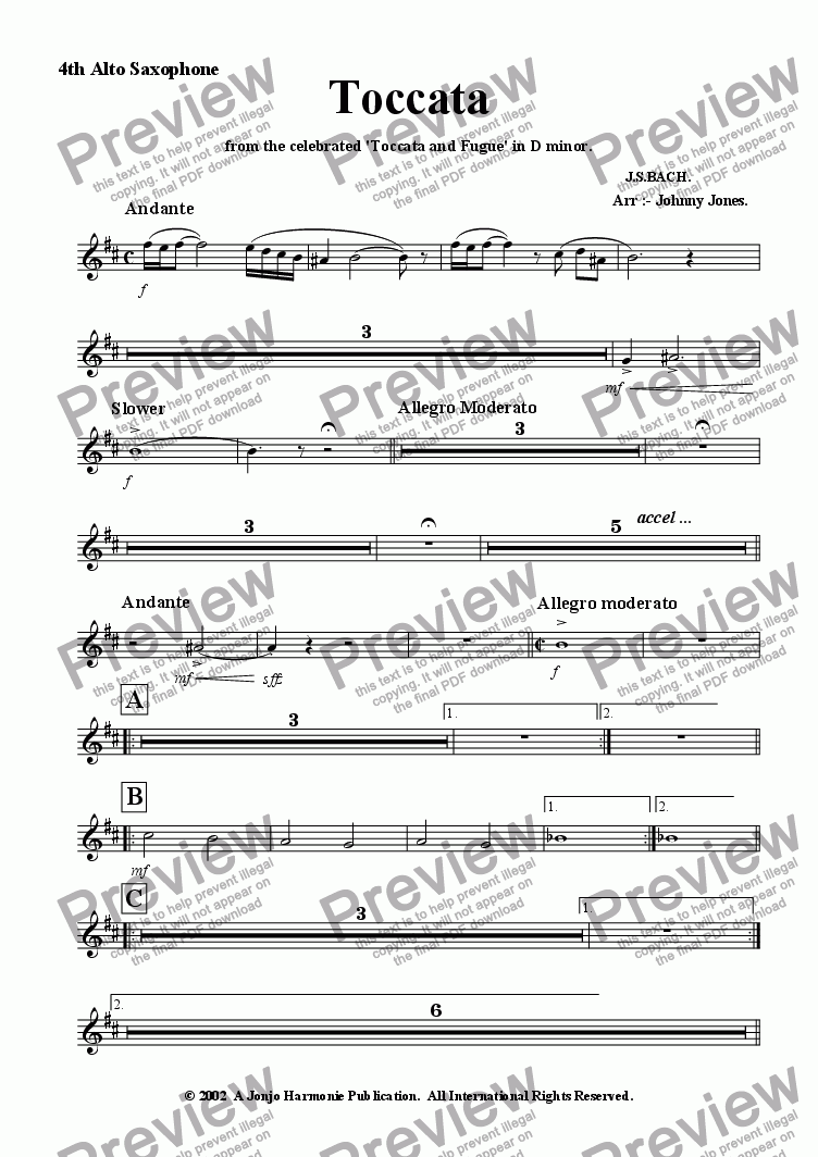 page one of the 4th Alto Saxophone part from Toccata   ( arr :- 10 Saxs)