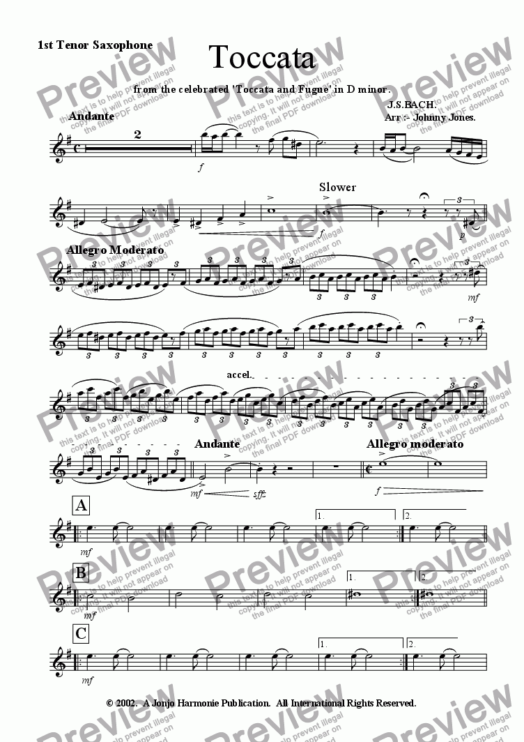page one of the 1st Tenor Saxophone part from Toccata   ( arr :- 10 Saxs)