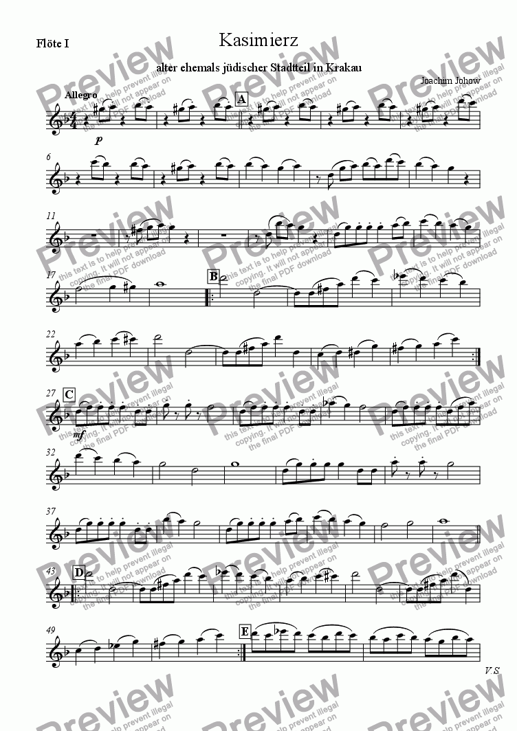 page one of the 1. Fl part from Klezmer Orchestra 01 (Kasimierz)