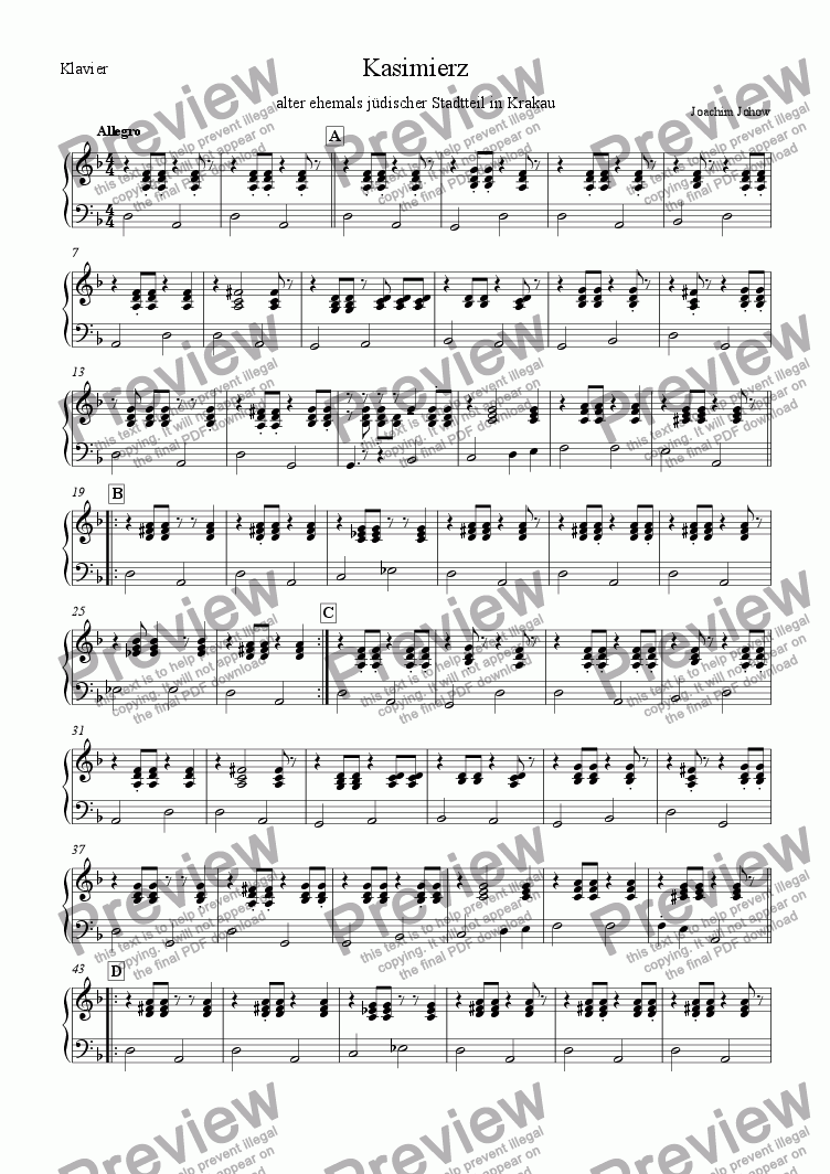 page one of the Piano part from Klezmer Orchestra 01 (Kasimierz)