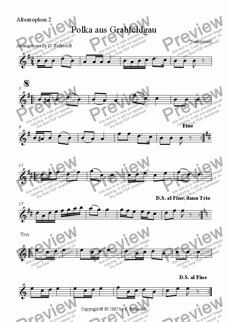 page one of the Polka Alto 2 part from Polka aus Grabfeldgau