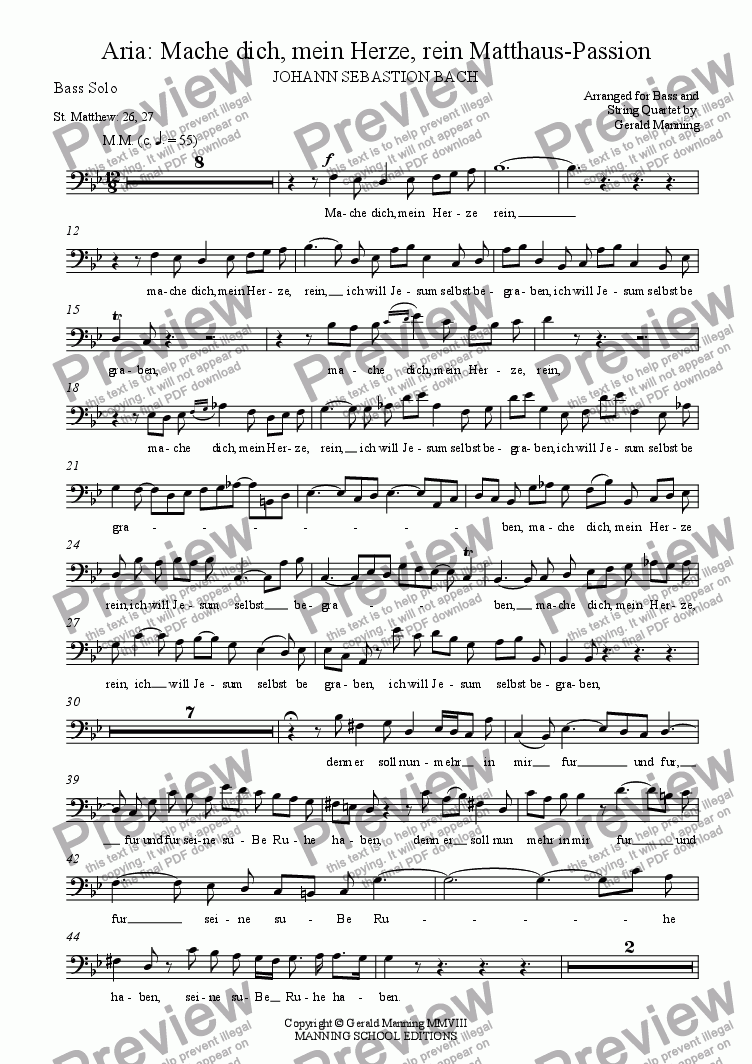 page one of the Solo Bass part from Reliquary of Sacred Music - Bach, J.S.- Bass Aria: Mache dich, mein Herze, rein - Matthaus-Passion - arr. for Solo Bass & String Quartet  by Gerald Manning