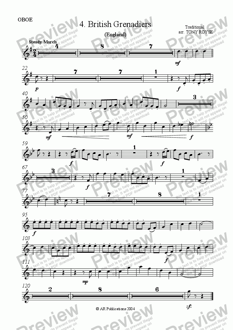 page one of the Oboe part from The British Grenadiers for School Orchestra