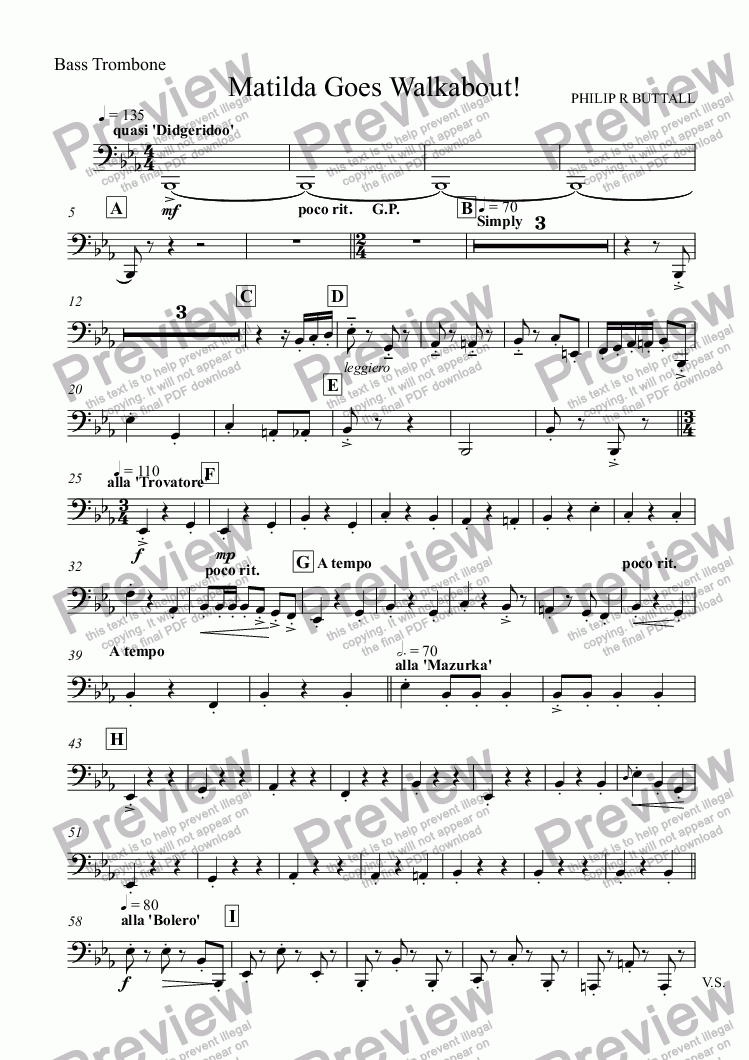 page one of the Bass Trombone part from Matilda Goes Walkabout! (Brass Band)