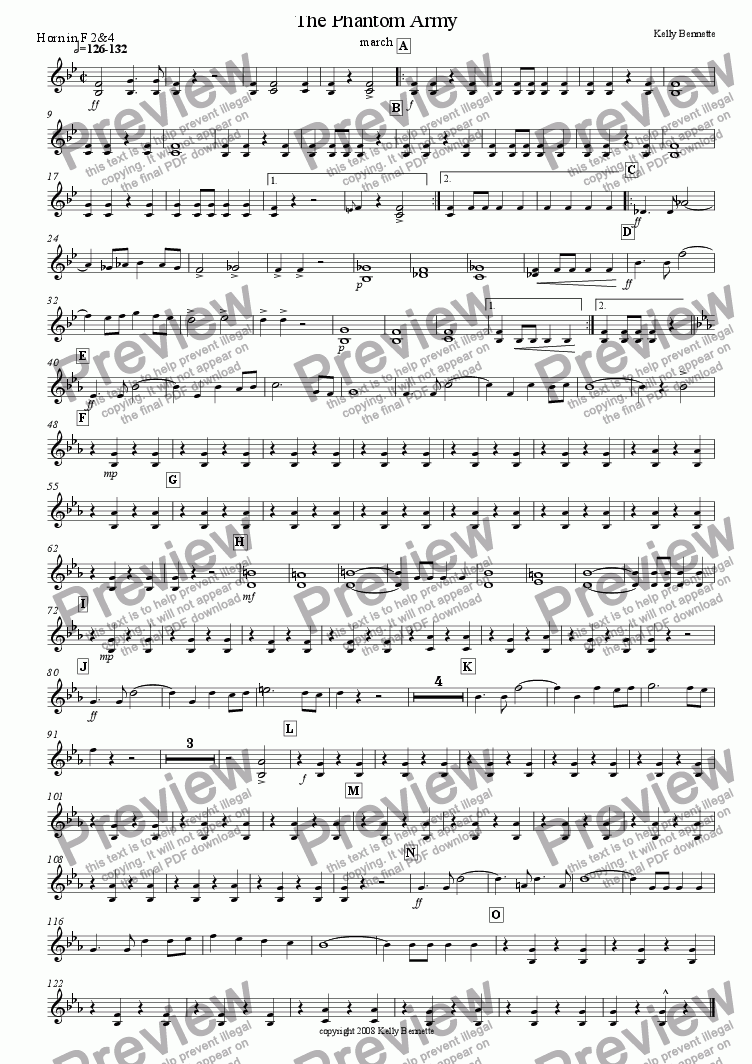page one of the horn in F 2&4 part from The Phantom Army march