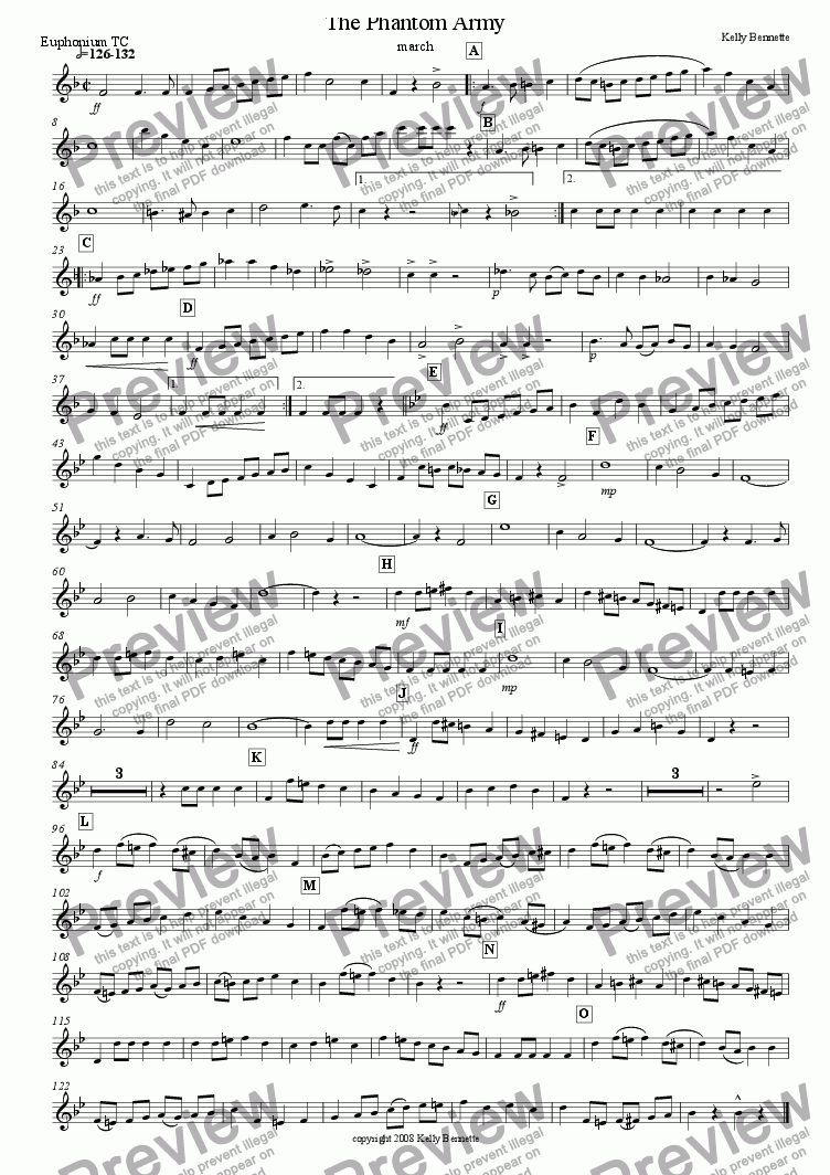 page one of the Euphonium TC part from The Phantom Army march