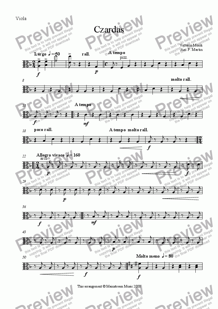 page one of the Viola part from Czardas - Violin & String Orchestra