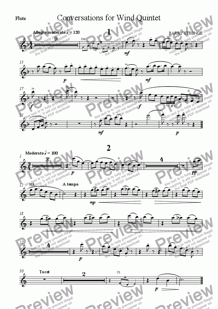 page one of the Flute part from Conversations for Wind Quintet