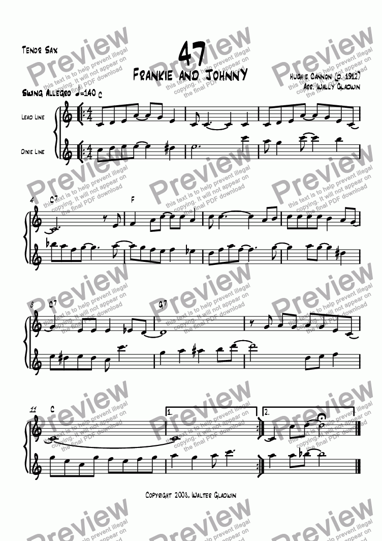 page one of the Tenor Sax part from Dixiechart 47. Frankie And Johnny