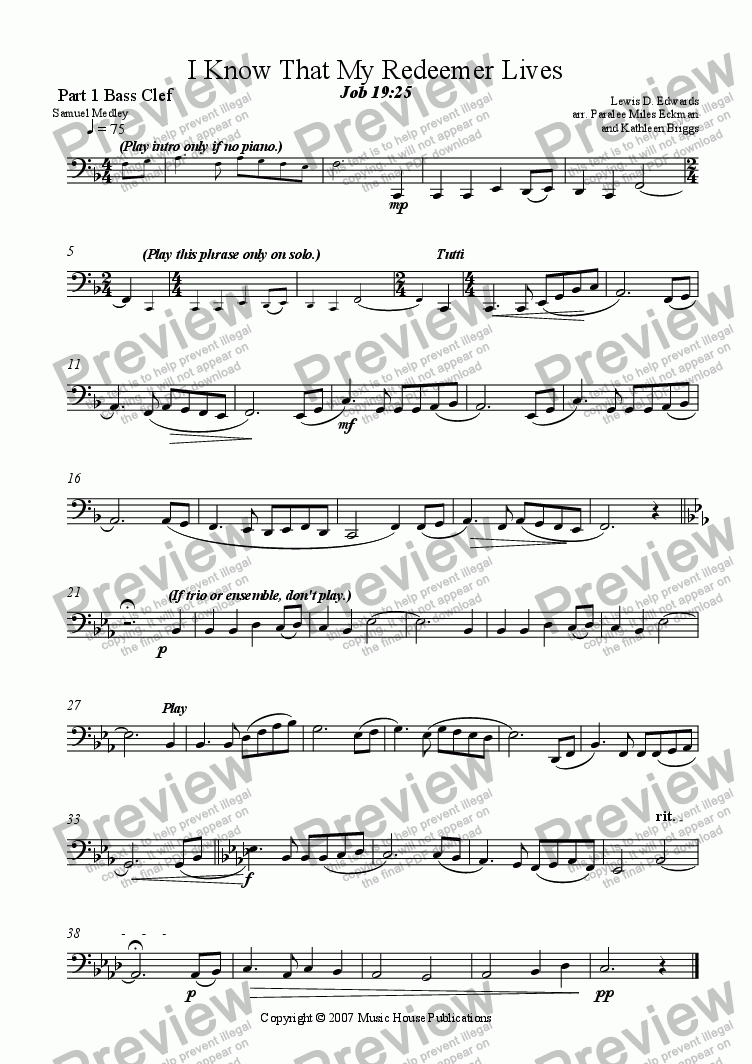 page one of the I Know That My Redeemer Lives - Part 1 Bass Clef part from Instant Ensemble:  I Know That My Redeemer Lives