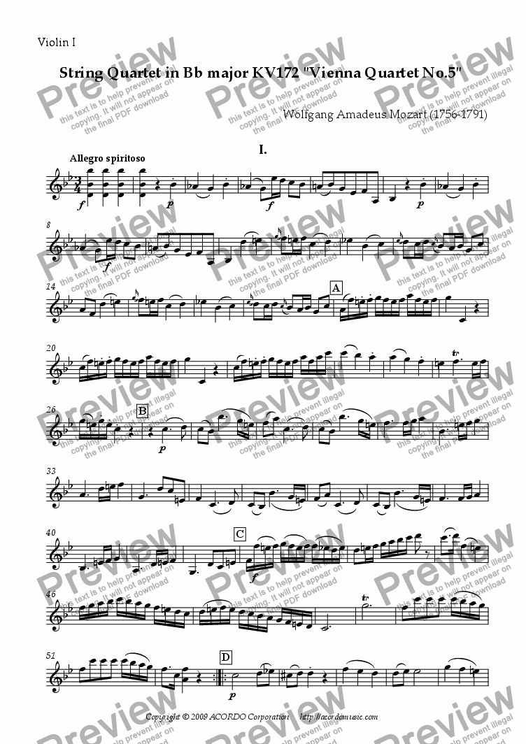 "page one of the Violin I part from String Quartet in Bb major KV172 ""Vienna Quartet No.5"""