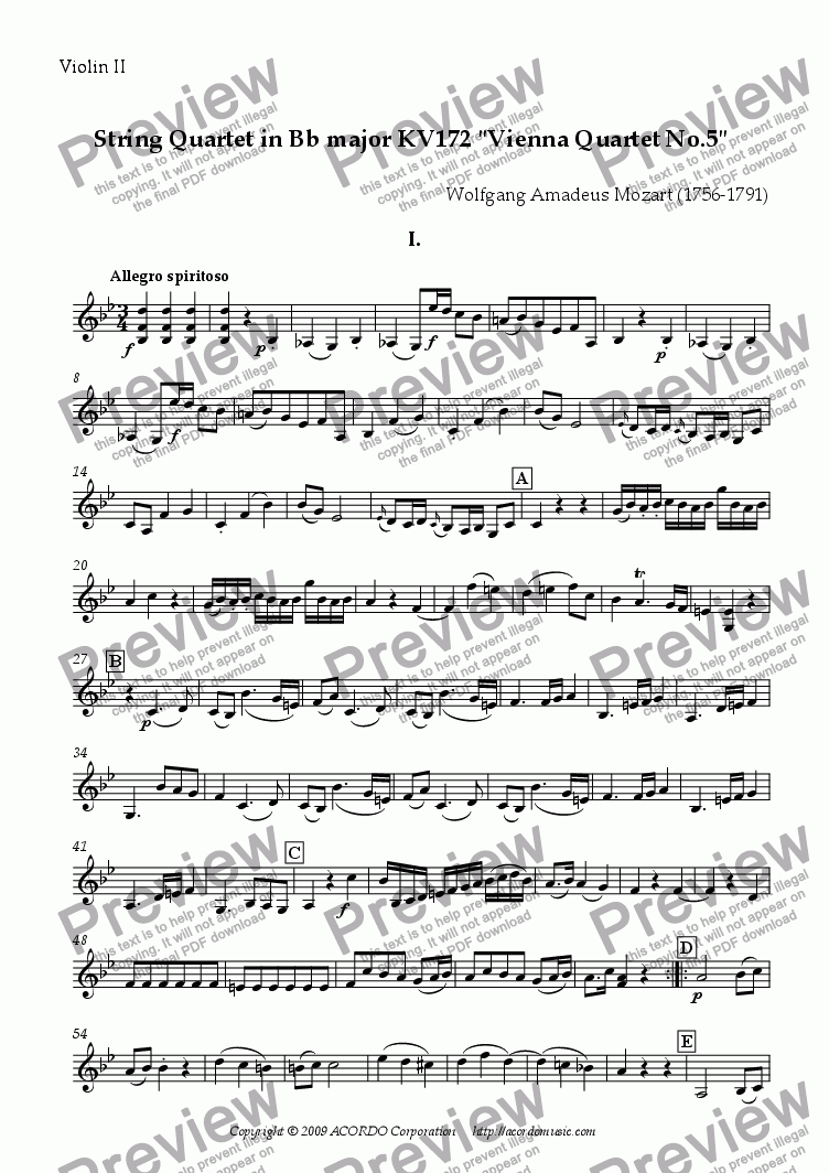 "page one of the Violin II part from String Quartet in Bb major KV172 ""Vienna Quartet No.5"""