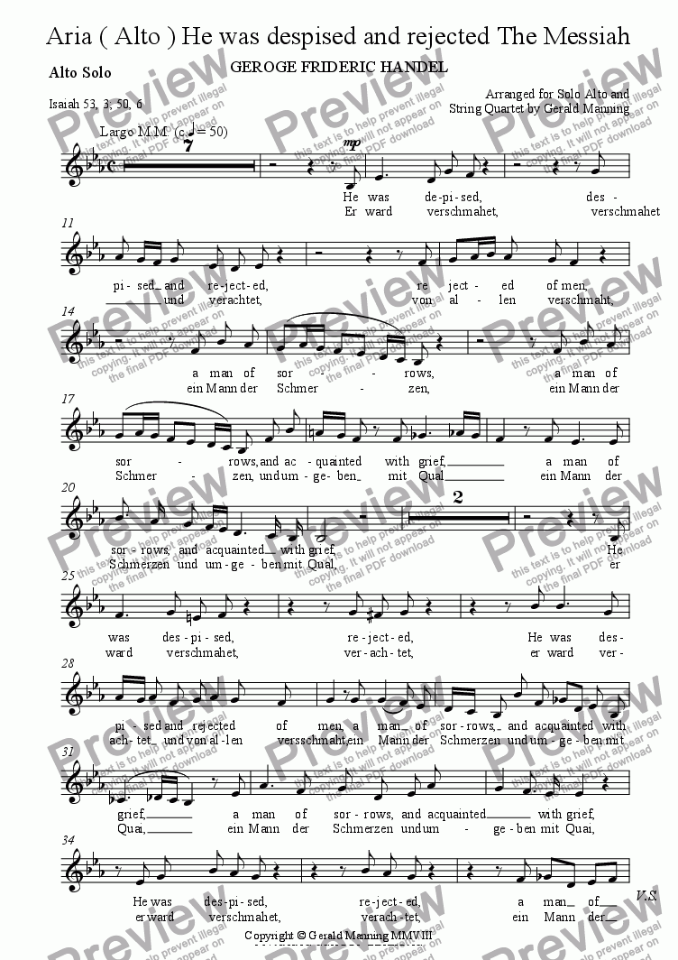 page one of the Solo Alto part from Reliquary of Sacred Music - Handel, G.F. - Aria (Alto) - He was despised and rejected  from The Messiah - arr. for Solo Alto and String Quartet by Gerald Manning