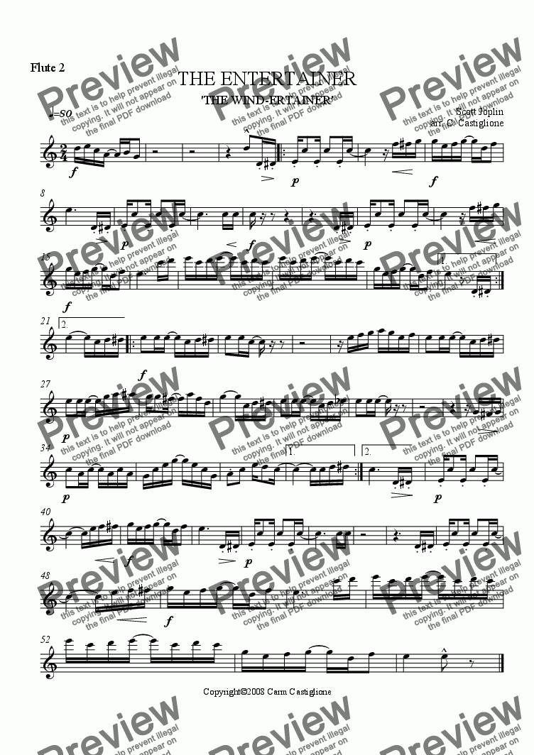 page one of the Flute 2 part from The Entertainer