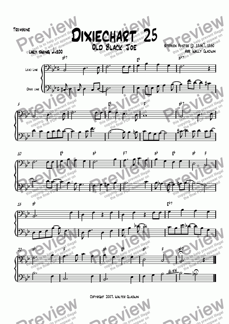 page one of the Trombone part from The Dixiechart Book 2 (#25 - #48)