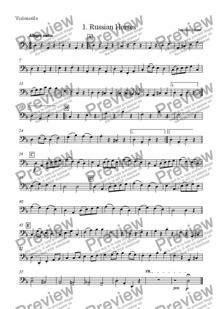 page one of the Vlc part from My School Orchestra (01 Russian Horses - Strings)