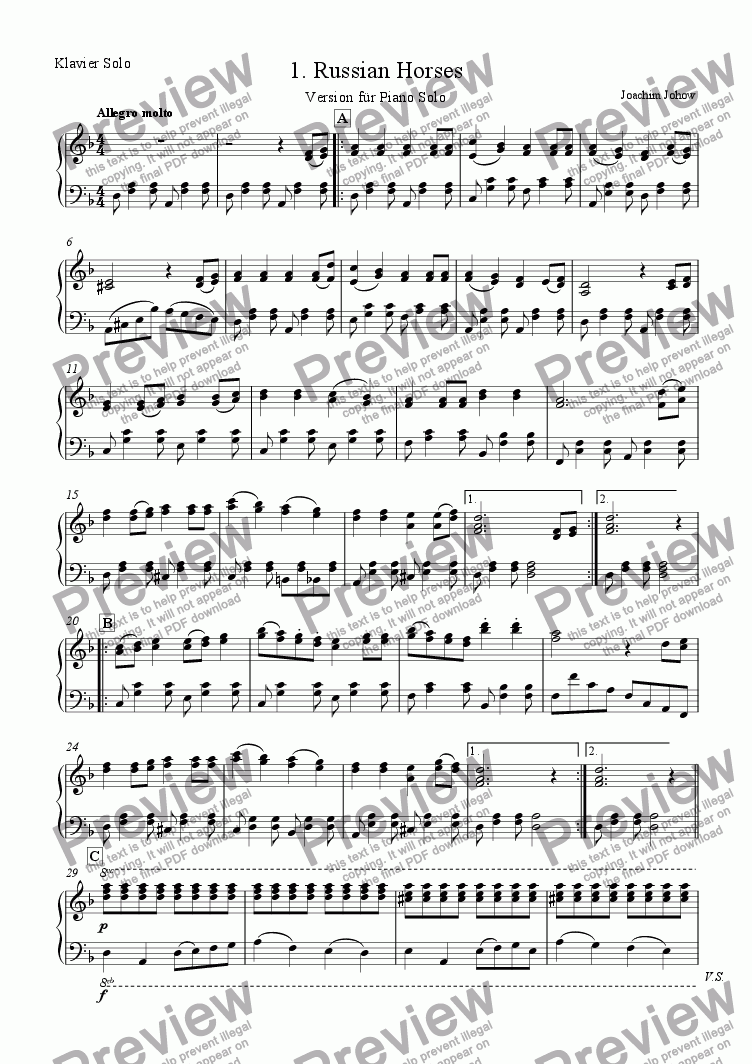 page one of the Piano Solo part from My School Orchestra (01 Russian Horses - Strings)