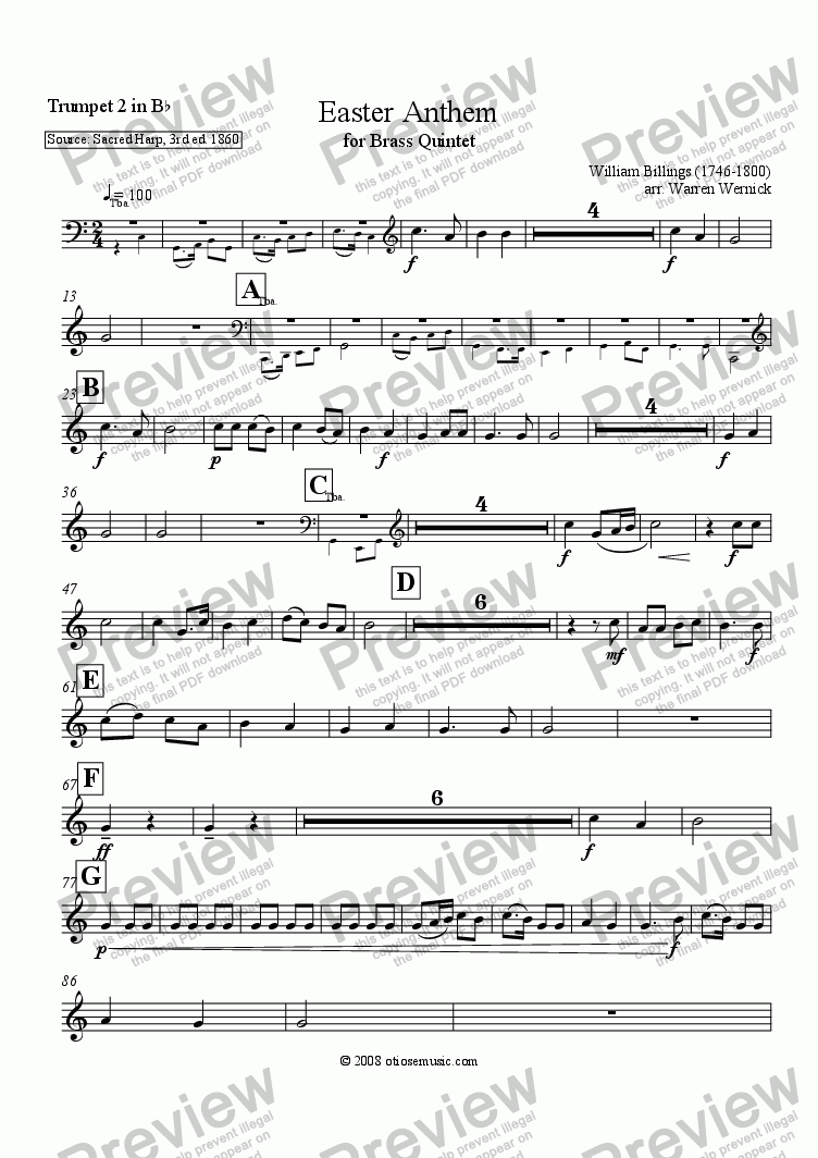 page one of the Easter Anthem Trumpet 2 in B-flat part from Easter Anthem for Brass Quintet