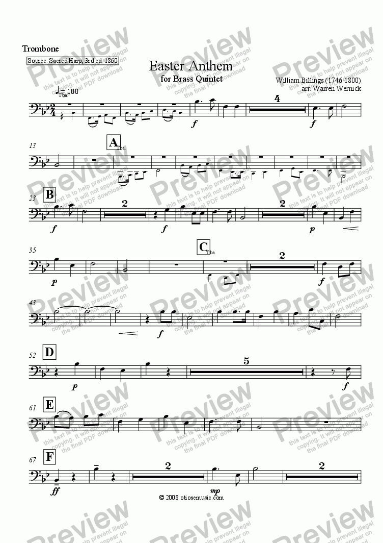 page one of the Easter Anthem Trombone part from Easter Anthem for Brass Quintet