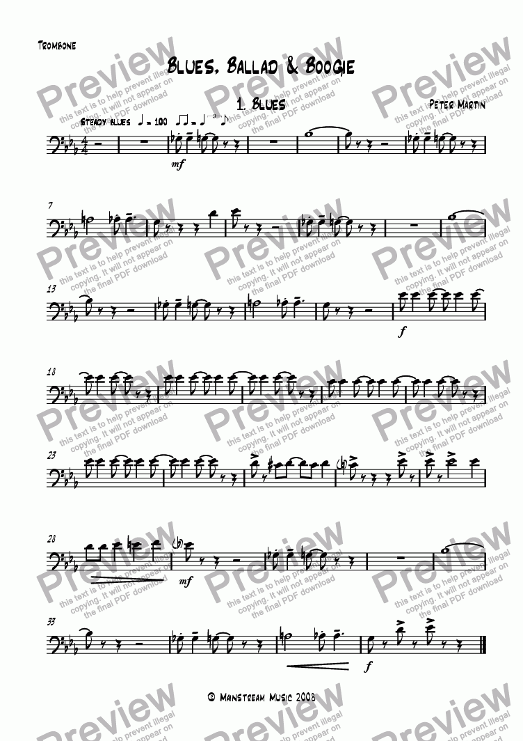 page one of the Trombone part from Blues, Ballad & Boogie - Brass Quartet